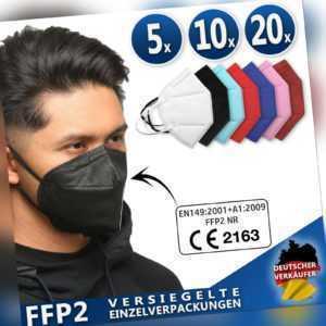 5 - 20 Stück FFP2 Masken CE Zertifiziert, Schutzmaske in Schwarz Rot Blau Rosa