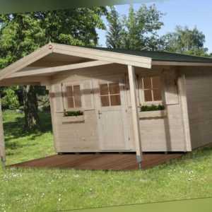 Weka Gartenhaus 135 45 mm natur 10,80m² inkl. Vordach 200 cm Gerätehaus Schuppen