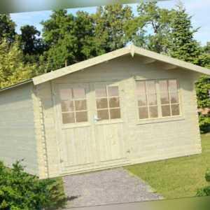 34 mm Gartenhaus ELAAS + Schindeln Gerätehaus 4x4 m Blockhaus solange Vorrat!
