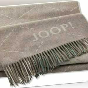 JOOP! Wolle-Kaschmir Plaid Sensual Signature Taupe-Salbei 130 x