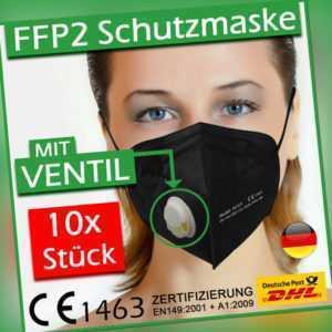 10x FFP2 Maske mit Ventil Filter ✅ 10 Stück Atemschutzmaske schwarz weiß EU CE ⭐