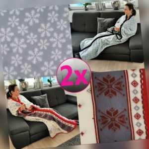 Kuscheldecke mit Ärmeln 2er Pack Fleecedecke Ärmeldecke TV-Blanket