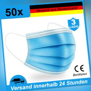 Mundschutz Maske Atem Einweg Gesicht Mund-Nasen-Schutz 3-lagig OP 50STK