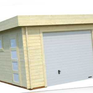 Garage Rasmus 3 Novel B Gartenhaus Gerätehaus Holzgarage 380x570cm Sektionaltor