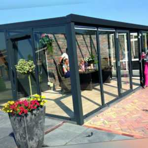 Gartenzimmer Poly Komplett 400x300 cm Schiebetür Überdachung Terrasse Bausatz