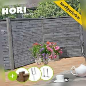 Holzzaun Sichtschutzzaun 180x180 Lamellenzaun Gartenzaun Steckzaun grau