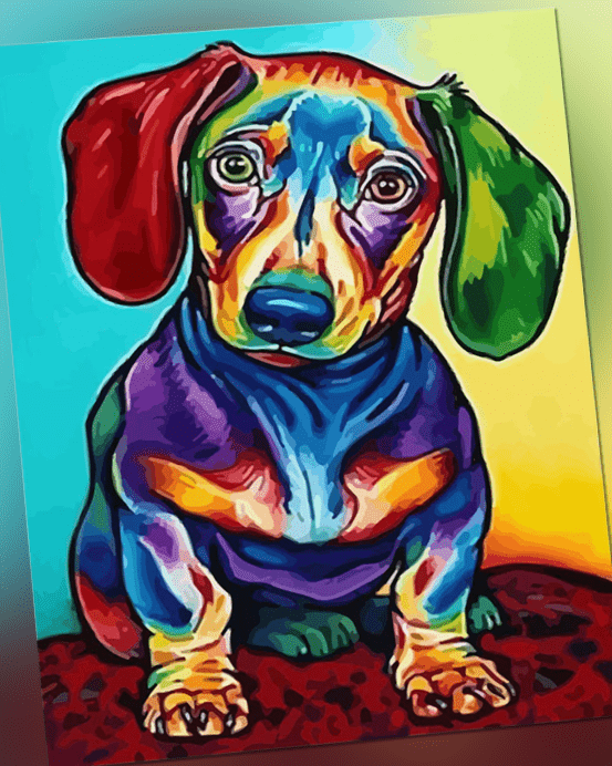 Malen nach Zahlen Set - Acryl Öl Malerei - kleiner bunter Hund 50x40cm