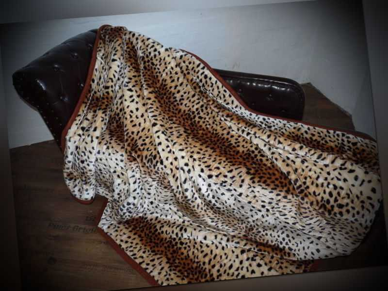 Kuscheldecke Tagesdecke Wohndecke Decke Plaid Leopard Modell II