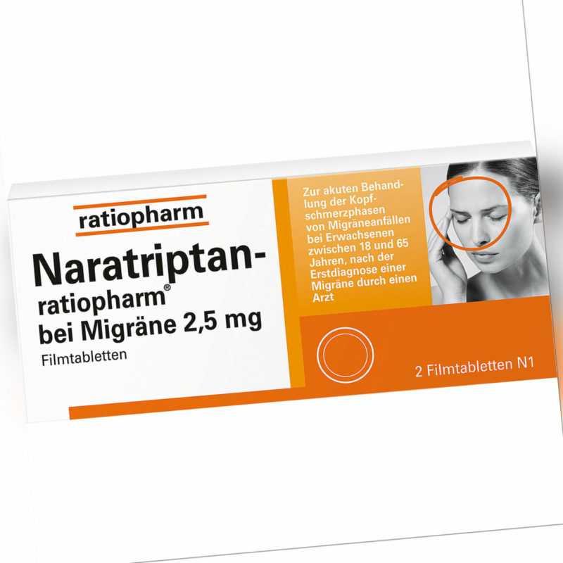 Naratriptan-ratiopharm bei Migräne 2,5 mg Filmtabl, 2 St. Tabletten 9321616