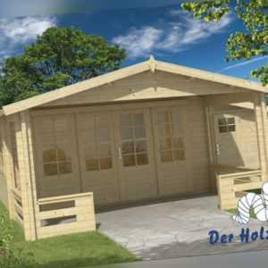 Gartenhaus Coventry ISO Blockhaus 590x563cm Holzhaus 58mm Anbauschuppen Terrasse