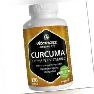 CURCUMA+PIPERIN+Vitamin C vegan Kapseln 120 St PZN 12580511