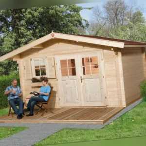 Weka Gartenhaus 136 45 mm natur 13,80 m² inkl. Vordach 60 cm Gerätehaus Schuppen