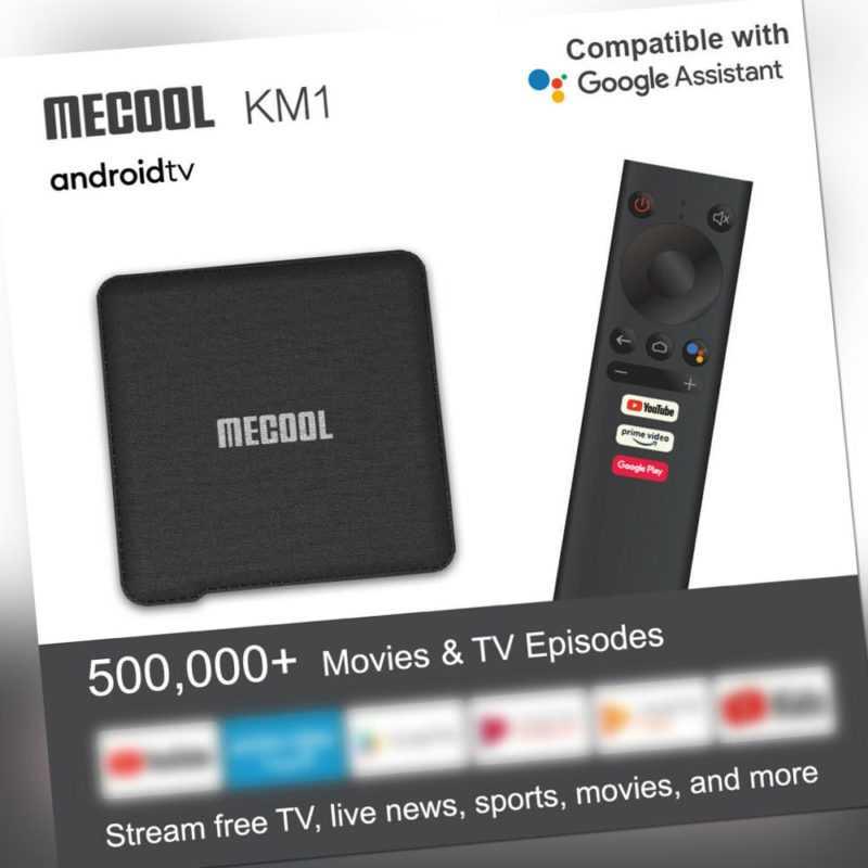 2020 MECOOL KM1 Android 9.0 TV Box 4+64GB S905X3 Quad-core 2.4/5G 2T2R WiFi O6T7