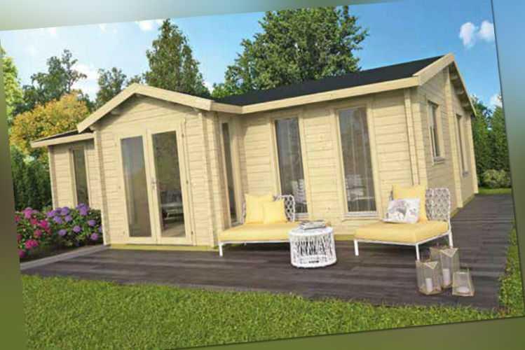 70 mm Ferienhaus ca. 850x790 cm Blockhütte Holzhaus Gartenhaus Holzhütte Holz