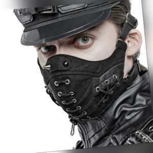 PUNK RAVE Biker Mund-Nasenmaske mit Stachelnieten Black Gothic Mask