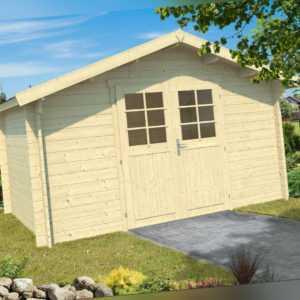 34 mm Gartenhaus Aktion LG incl. Schindeln ca.4x4 m Gerätehaus Blockhaus Holz