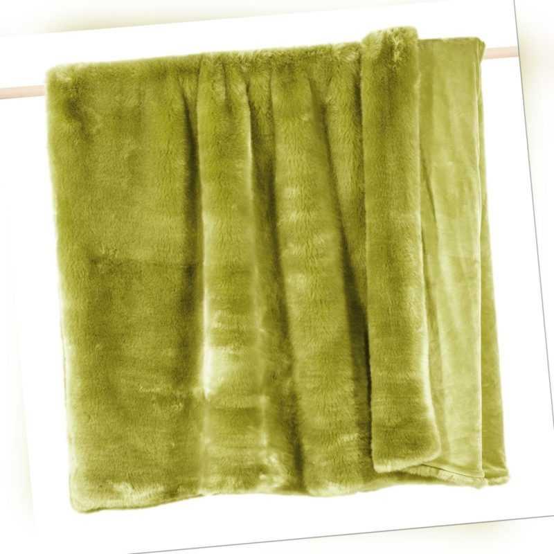 Pad Decke SHERIDAN Felldecke Grün Kuscheldecke Wohndecke 140x190