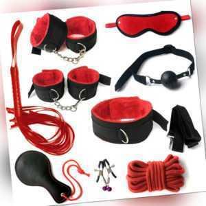 Bondage Set 10tlg. SM Fesseln Peitsche Handschellen Knebel Toy Sexspielzeug DE