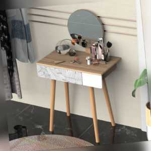 Wooden Compact Dressing Table w/ Drawer Mirror 4 Legs Table Top Bedroom