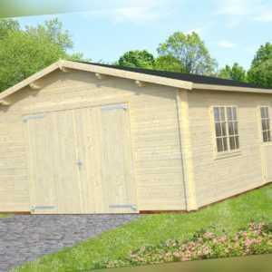 44 mm Holzgarage Roger 11 / 12 / 13 Garage ca. 470x570 cm Blockhaus Carport Holz