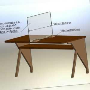 NEU !   Mobiler Spuckschutz für Tische Schulen Schreibtische Acrylglas Plexiglas