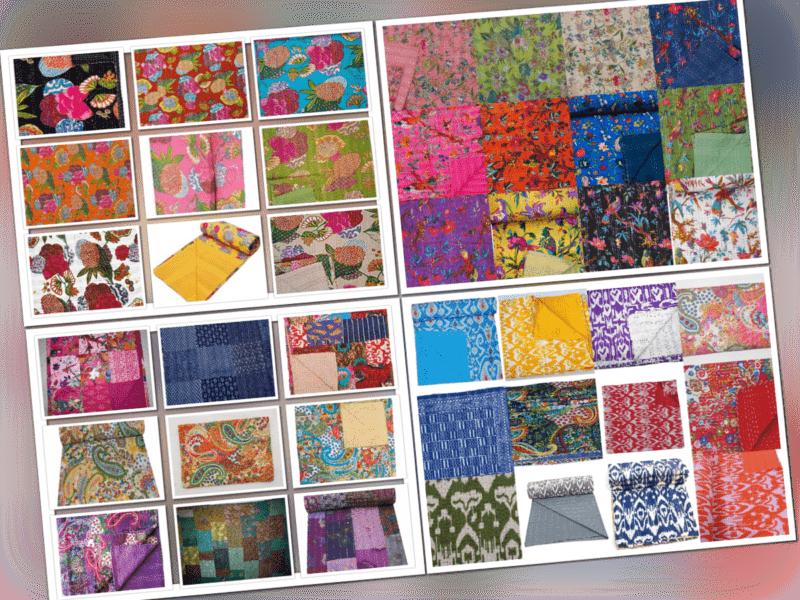 Handgemachte Baumwolle Indian Kantha Quilt Tagesdecke Decke werfen