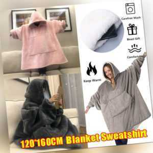 Plush Blanket Hoodie Oversize Sweatshirt Hoodie Cozy Fleece