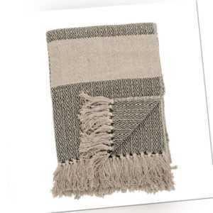 Bloomingville Decke Natur Grün Recycelt Baumwolle 130x160