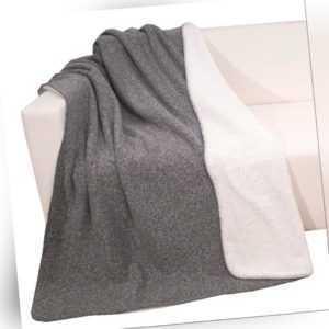Doubleface Wohndecke, vorne: Tweed-Optik hinten Sherpa