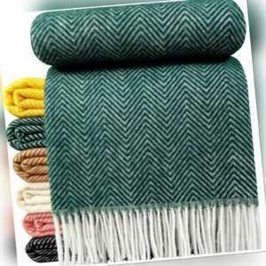 Wolldecke 100% Schurwolle Wohndecke Plaid in versch.Farben 140 x
