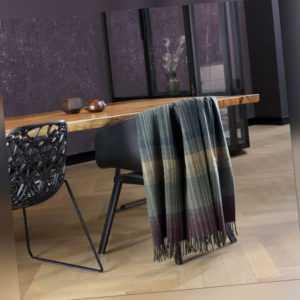 Biederlack Wolle-Kaschmir Plaid Striped Check 130 x 170 cm
