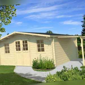 34 mm Gartenhaus 500x500cm + SCHLEPPDACH Holz Gerätehaus Schuppen Holzhaus Hütte