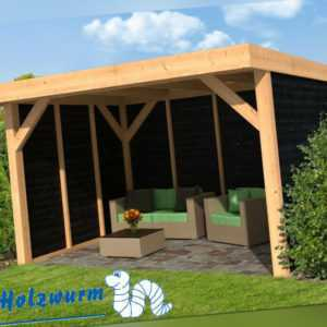 Pavillon Ommen Gartenlaube Holzhaus Gartenhaus 400 x 300 cm Holz Lärche schwarz