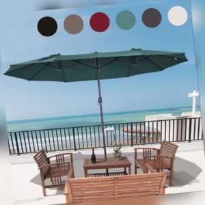 Outsunny Sonnenschirm Doppelschirm Terrassenschirm UV-Schutz mit Handkurbel
