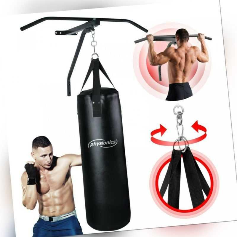 Physionics® Boxsack mit Klimmzugstange Wandhalterung Boxsackhalter Reckstange