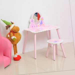 HOOMCOM Girls Kids Pink Dressing Table Make Up Play Set Desk Chair Mirror Wooden