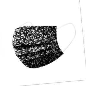 50 / 100 x EMUZO Mund-Nasen-Maske schwarz weiß Muster Floral Behelfsmaske
