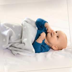 Biederlack Kinder- Baby Kuscheldecke Love 75 x 100 cm hellgrau