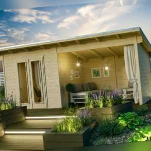 Gartenhaus Texel ca. 550x250 cm Überdachung Gerätehaus Holz Pultdach 28 mm