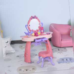 HOMCOM Kids Vanity Table and Stool Beauty Pretend Play Set with Lights Sounds
