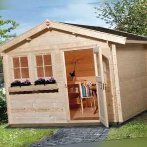 Weka Gartenhaus 139 45 mm natur 8,50 m² inkl. Vordach 20 cm Gerätehaus Schuppen