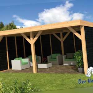 Pavillon Dalfsen Gartenlaube Holzhaus Gartenhaus 600 x 300 cm Holz Lärche Neu