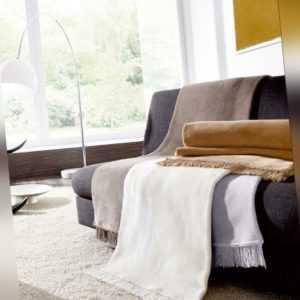 Biederlack Kuscheldecke 100x200 Fransen Cover Cotton haselnuss