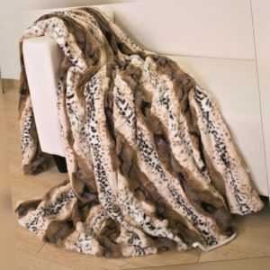 Kuscheldecke Leopard Fellimitat Felldecke 150x200cm Bettüberwurf