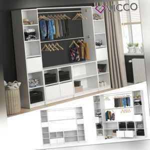 VICCO Kleiderschrank GUEST XXL offen begehbar Regal Kleiderständer Schrank weiß