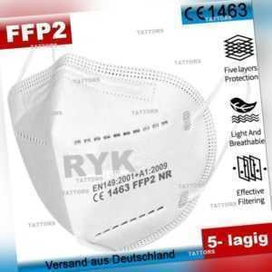 FFP2 NR Mundschutz 97% CE Zertifiziert Masken Mund Nasen Schutz Atemschutz 5-lag