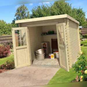 28 mm Gartenhaus 250x250 cm Gerätehaus Blockhütte Holzhaus Schuppen Holz Haus