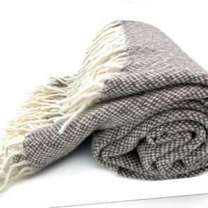 Wolldecke Plaid 136 x 170 cm 100% Wolle, wollweiß/ braun