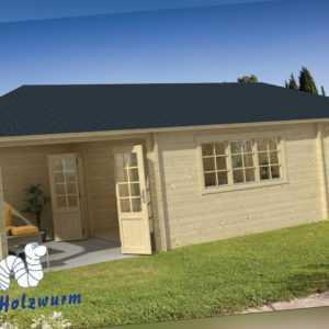 Gartenhaus Sibella ISO Blockhaus 850x420cm Holzhaus 44mm Anbauschuppen Terrasse
