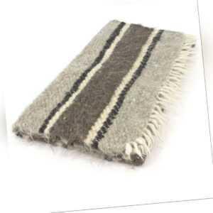 kleine handgewebte Wolldecke  Läufer grau gestreift 70 x 150 cm